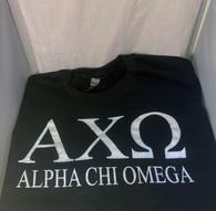 Alpha Chi Omega Sorority Crewneck Sweatshirt- Black