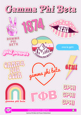 Gamma Phi Beta Sorority Stickers- Girl Power