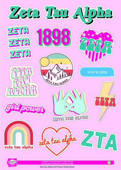 Zeta Tau Alpha ZTA Sorority Stickers- Girl Power