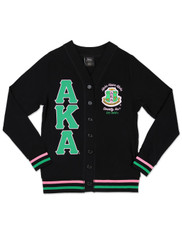 Alpha Kappa Alpha AKA Sorority Lightweight Cardigan- Black/Green