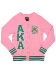 Alpha Kappa Alpha AKA Sorority Lightweight Cardigan- Pink/Green
