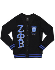 Zeta Phi Beta Sorority Lightweight Cardigan- Black/Blue