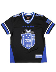 Zeta Phi Beta Sorority Football Jersey- Black/Blue