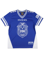 Zeta Phi Beta Sorority Football Jersey- Blue/White- Front