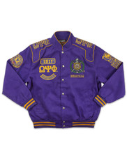 Omega Psi Phi Fraternity Racing Jacket- Front