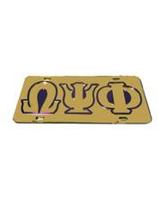 Omega Psi Phi Fraternity License Plate-Gold