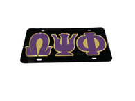Omega Psi Phi Fraternity License Plate-Black