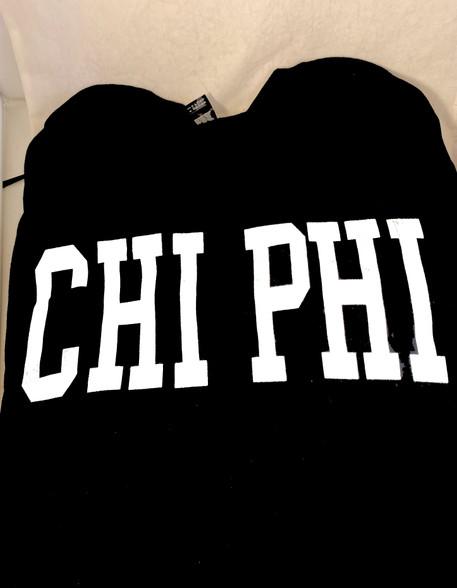 Chi Phi Fraternity Long Sleeve Shirt- Black