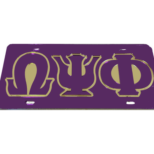 Omega Psi Phi Fraternity License Plate-Purple