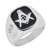 Mason Masonic Stainless Steel Ring with Small CZ Stones