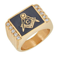 Mason Masonic Stainless Steel Ring with Small CZ Stones-Gold
