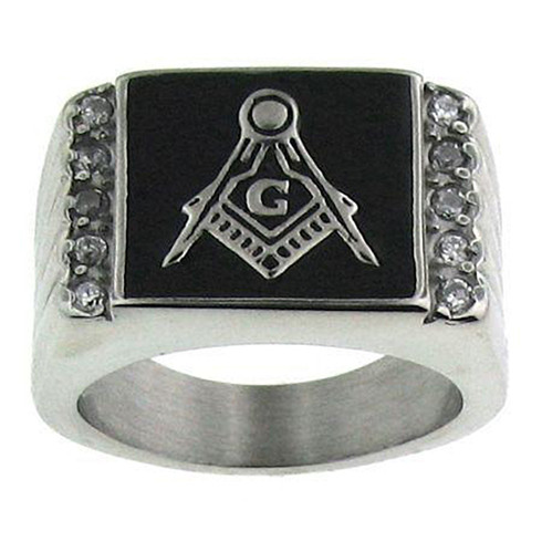 Mason Masonic Stainless Steel Ring with Small CZ Multi-Stones