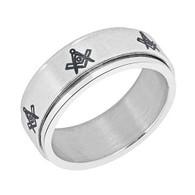 Mason Masonic Stainless Steel Spinner Ring