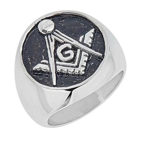 Mason Masonic Stainless Steel Ring-Symbol- Black Background