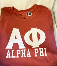 Alpha Phi Short Sleeve Shirt-Crimson