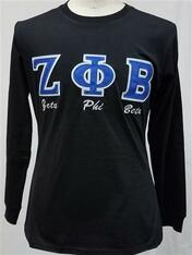 Zeta Phi Beta Sorority Long Sleeve Shirt- Black