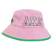 Alpha Kappa Alpha Sorority Bucket Hat-Pink/Green- Style 2