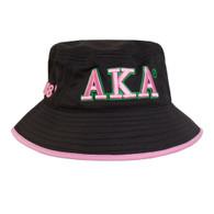 Alpha Kappa Alpha Sorority Bucket Hat-Black/Pink- Style 2