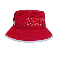 Delta Sigma Theta Sorority Bucket Hat-Red/White- Style 2