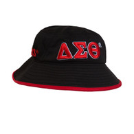 Delta Sigma Theta Sorority Bucket Hat-Black/Red- Style 2