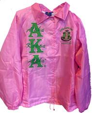 Alpha Kappa Alpha AKA Sorority Line Jacket- Salmon Pink-Green Embroidery