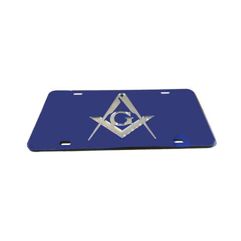 Mason Blue License Plate with Silver Symbol