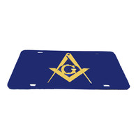 Mason Blue License Plate with Gold Symbol