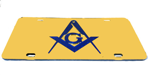 Mason Gold License Plate with Blue Symbol