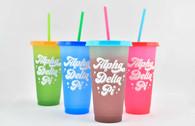 Alpha Delta Pi ADPI Sorority Set of 4 Color Changing Cups