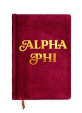 Alpha Phi Sorority Velvet Notebook