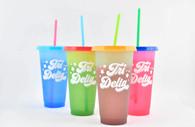 Delta Delta Delta Tri-Delta Sorority Set of 4 Color Changing Cups