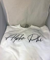 Alpha Phi Sorority Crewneck Sweatshirt- White- Style 2