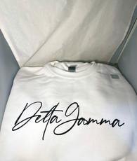 Delta Gamma Sorority Crewneck Sweatshirt- White- Style 2