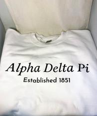 Alpha Delta Pi ADPI Sorority Crewneck Sweatshirt- White- Style 2