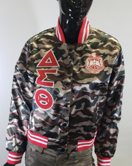 Delta Sigma Theta Sorority Satin Jacket- Camouflage