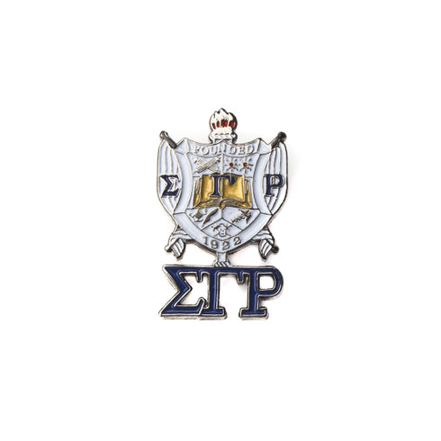 Sigma Gamma Rho Sorority Crest with 3 Greek Letter Lapel Pin