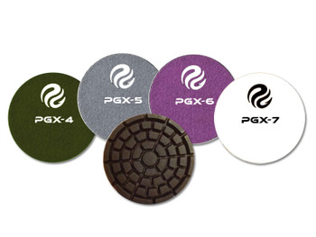 PowerGrindTM XL Dry Phenolic Polishing Pads are used after initial grind is performed. Ideal for extended life under ride-on and walk-behind trowels. PG resins yield high clarity and shine. STEPS 4, 5, 6, 7.