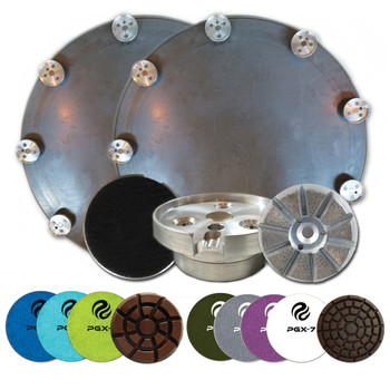 "Kit includes 2 x 48"" PowerPan, 24 x PowerFlex Quick Release Magnetic Adapters and 24 x PowerFlex Hook and Loop Resin Adapters, 24 x STEP 1 Grinding Metals, 24 x PG Standard Wet Grinding Pads Step 1, 24 x Step 2, 24 x Step 3, 24 x PowerGrind XL Dry Phenolic Polishing Pads Step 4, Step 5, Step 6, Step 7."