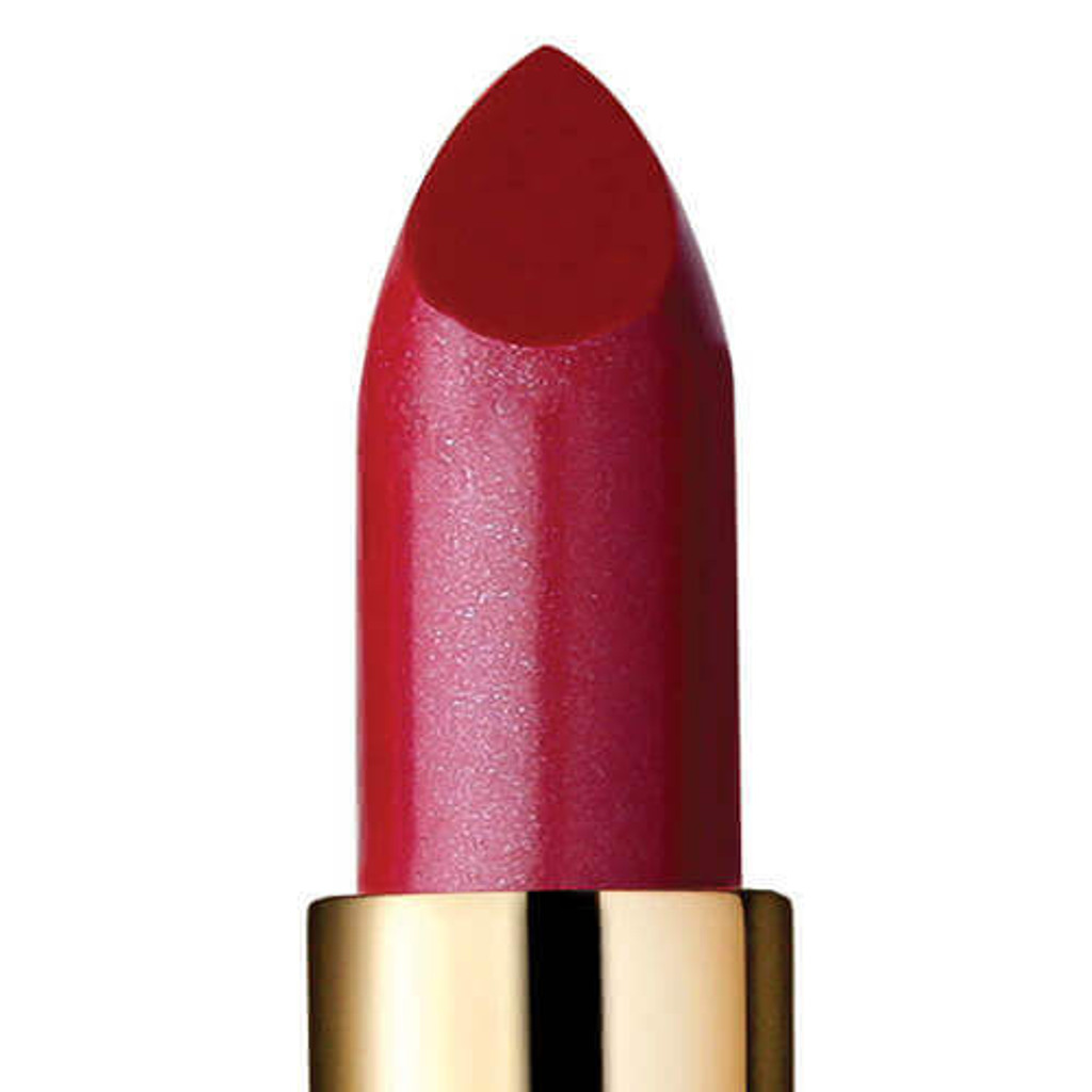 Closeup of semi-sheer berry red lipstick