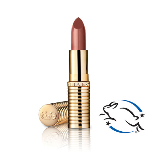 Sheer, vegan terracotta nude lipstick in gold tube with Leaping Bunny cruelty free logo.