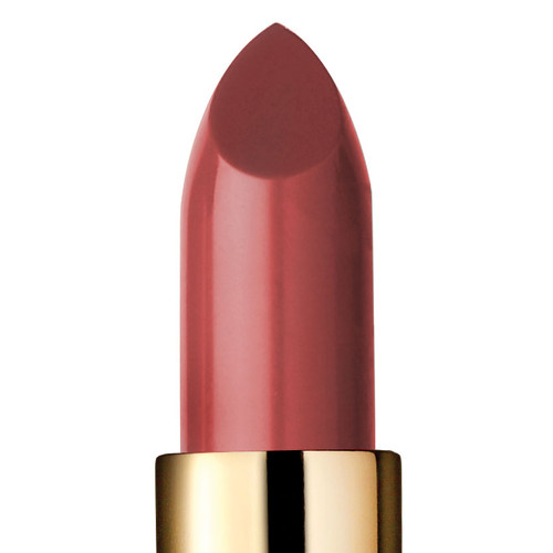 Closeup of bittersweet color lipstick, a rich warm coral with a touch of brown
