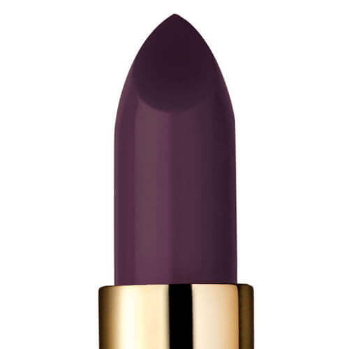 Closeup of dark purple lipstick