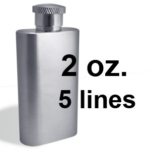 Engrave 5 lines on a 2 ounce flask