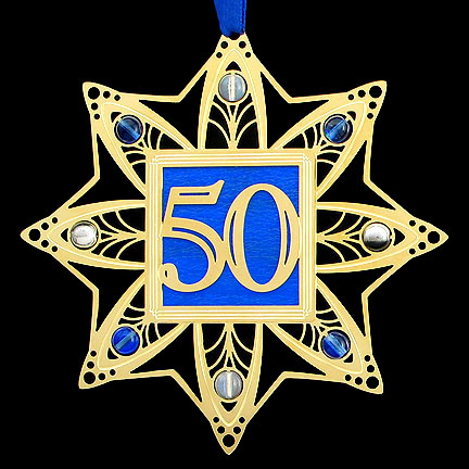 50th Wedding Anniversary Ornament - Iridescent Cobalt with Gold Design