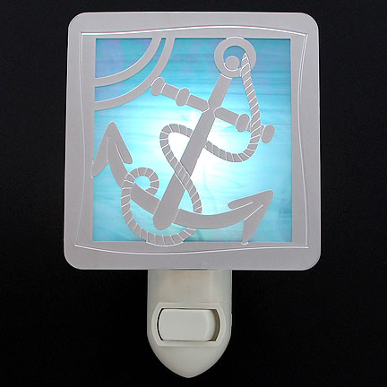 Polished Silver and Turquoise Night Light - Anchor