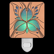 Copper with Green Stained Glass Night Light - Anthurium