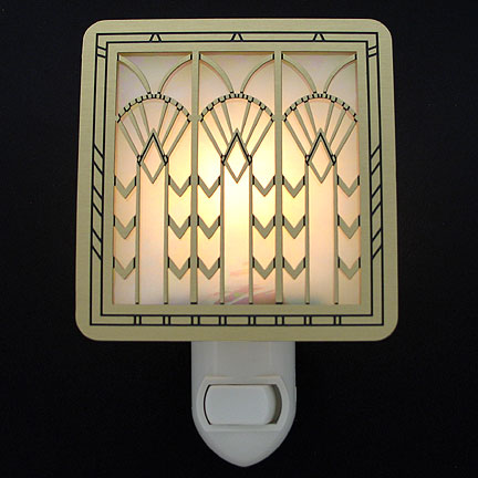 Brushrd Brass and Amber Night Light - Art Deco Fans
