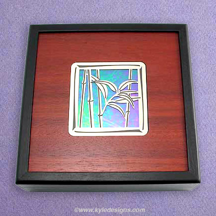 Wood Jewelry Box Inlaid with Glass and Metal Bamboo Design