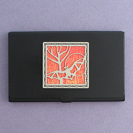 Bat Business Card Case - Orange Iridescent with Silver Design