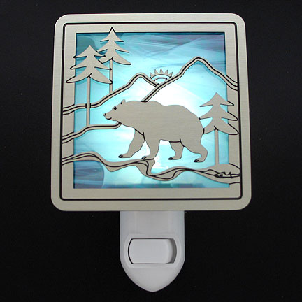 Brushed Silver and Turquoise Night Light - Bear